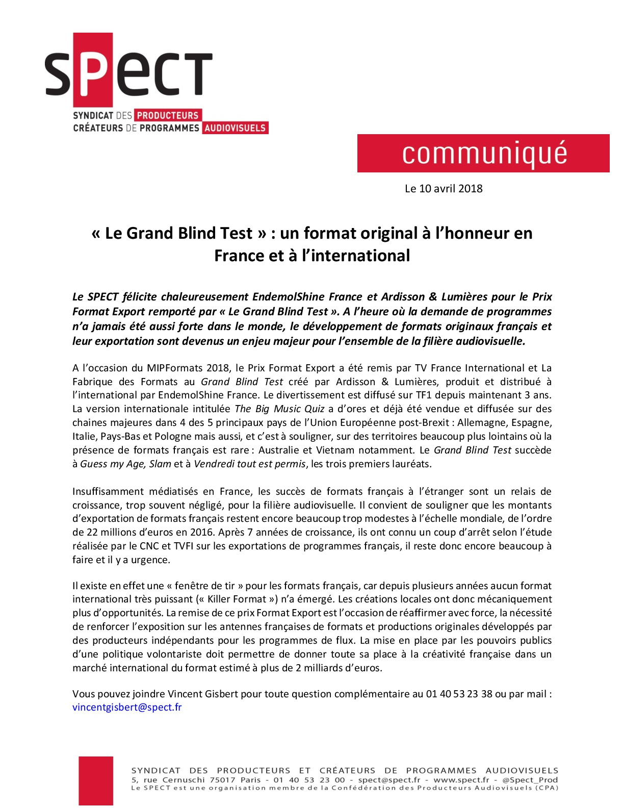 Communiqué de presse :  « Le Grand Blind Test » : un format original à l'honneur en France et à l'international